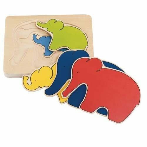 drewniane puzzle warstwowe słoniki