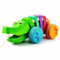 teczowy krokodyl do ciagniecia plan toys