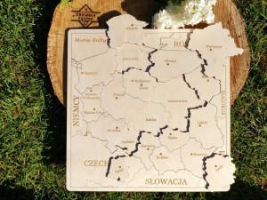 układanka drewniana wojewodztwa Polski mapa
