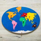 układanka drewniana mapa świata zabawki z duszą