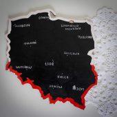 drewniana układanka tablicowa mapa polski